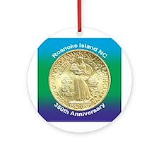 Roanoke Island NC Coin Ornament (Round)