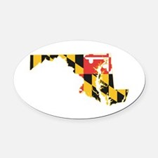Maryland Flag Oval Car Magnet