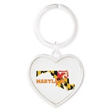 Maryland Flag Heart Keychain