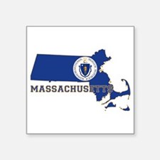 """Massachusetts Flag Square Sticker 3"""" x 3"""""""