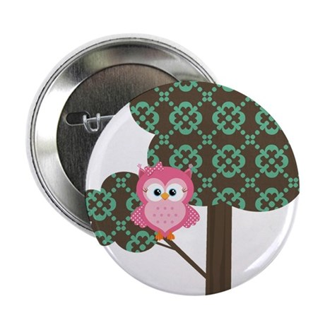"Pink Owl in a Tree 2.25"" Button (10 pack)"
