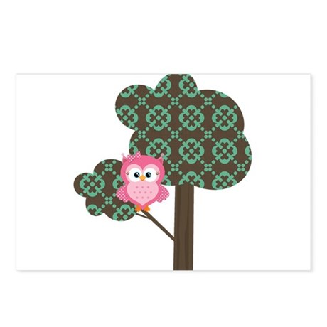 Pink Owl in a Tree Postcards (Package of 8)