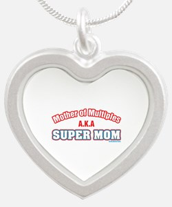 Mom of Multiples Silver Heart Necklace
