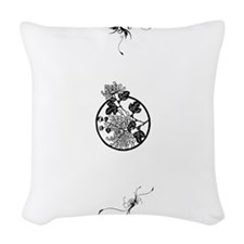 Lotus Flower Design Woven Throw Pillow