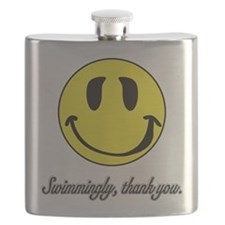 Swimmingly Thank You smiley Flask