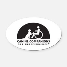 Black White Canine Companions Logo Oval Car Magnet