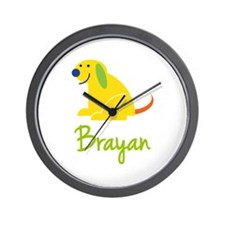 Brayan Loves Puppies Wall Clock