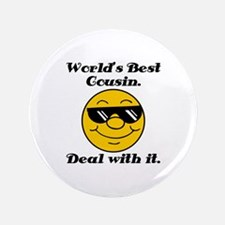 "World's Best Cousin Humor 3.5"" Button"