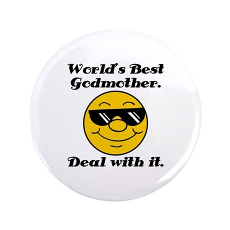 """World's Best Godmother Humor 3.5"""" Button (100 pack"""