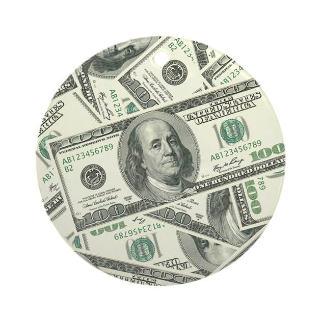 100 Dollar Bill Money Pattern Ornament Round By