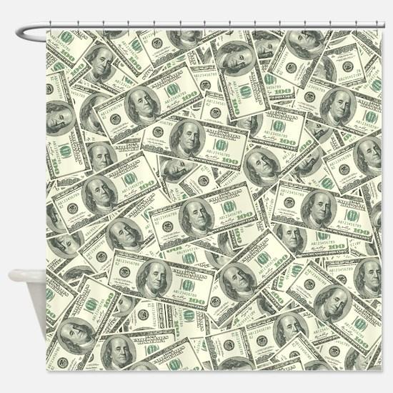 100 Dollar Bill Money Pattern Shower Curtain
