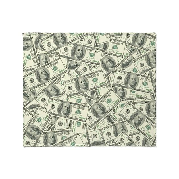 100 Dollar Bill Money Pattern Throw Blanket By Trendyteeshirts
