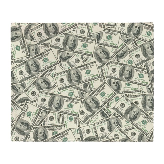 100 Dollar Bill Money Pattern Throw Blanket By Trendyteeshirts