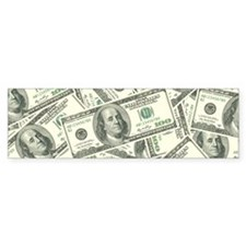 100 Dollar Bill Money Pattern Bumper Bumper Sticker