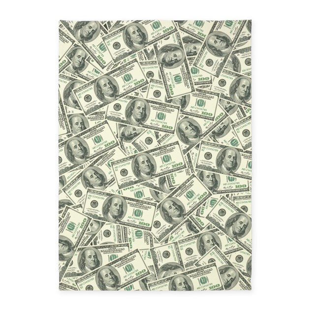 100 Dollar Bill Money Pattern 5 X7 Area Rug By Trendyteeshirts