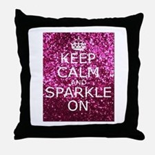 Keep Calm and Sparkle On Throw Pillow