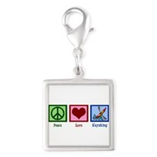 Peace Love Kayaking Silver Square Charm
