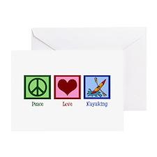 Peace Love Kayaking Greeting Card