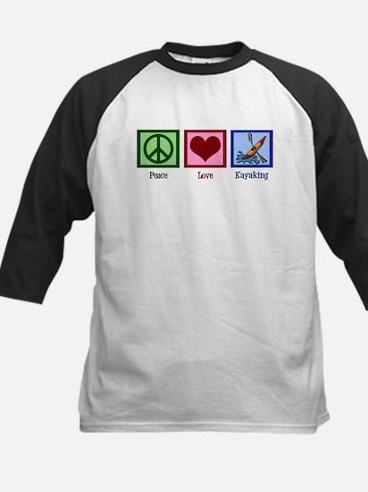 Peace Love Kayaking Kids Baseball Jersey