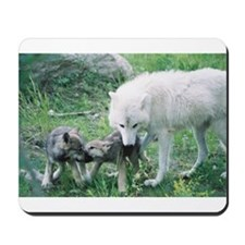 """Mother Wolf With Two Cubs"" Mousepad"
