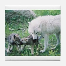 """""""Mother Wolf With Two Cubs"""" Tile Coaster"""