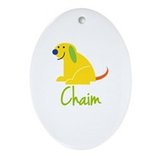 Chaim Loves Puppies Ornament (Oval)