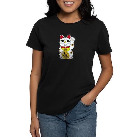 maneki neko lucky cat Women's Dark T-Shirt