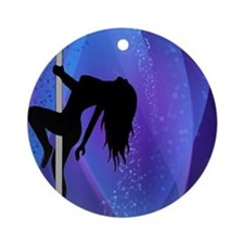 Pole Dancing Stripper - Purple Ornament (Round)