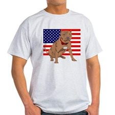 Red Nose Pit Bull USA Flag T-Shirt