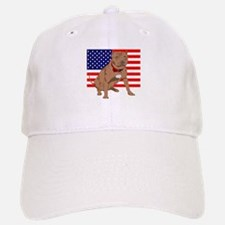 Red Nose Pit Bull USA Flag Baseball Baseball Cap