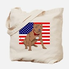 Red Nose Pit Bull USA Flag Tote Bag
