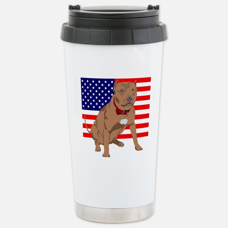 Red Nose Pit Bull USA Flag Stainless Steel Travel