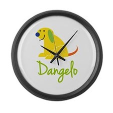 Dangelo Loves Puppies Large Wall Clock