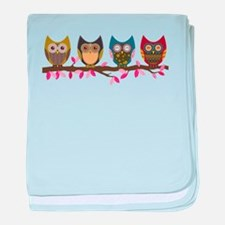 Owls on a branch baby blanket