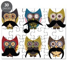 Cute owls with mustaches Puzzle