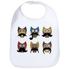 Cute owls with mustaches Bib