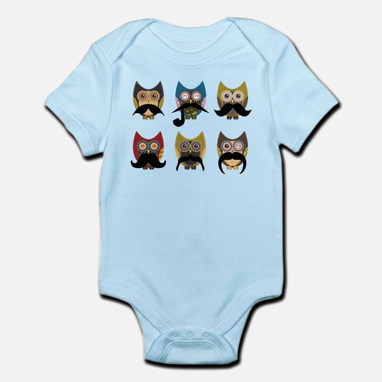 Cute owls with mustaches Body Suit