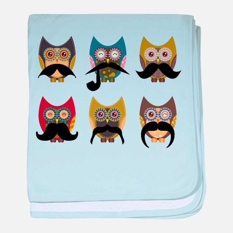 Cute owls with mustaches baby blanket