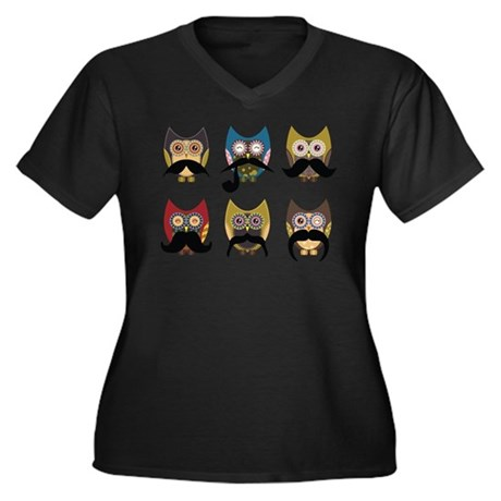 Cute owls with mustaches Plus Size T-Shirt