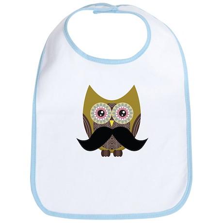 Golden Owl with Mustache Bib