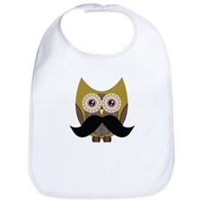 Golden Owl with Mustache Bib