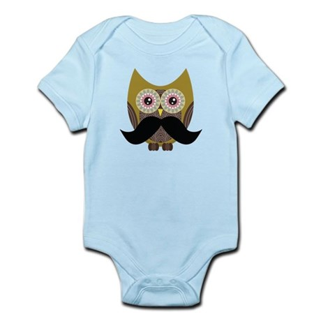 Golden Owl with Mustache Body Suit