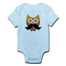 Golden Owl with Mustache Body Suit