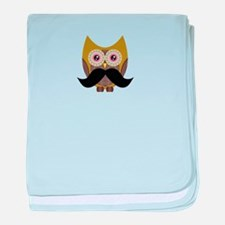 Golden Owl with Mustache baby blanket