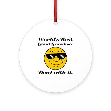 World's Best Great Grandma Humor Ornament (Round)