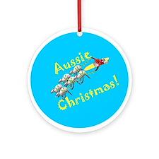 Aussie Santa, 6 White Boomers Ornament (Round)