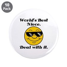 "World's Best Niece Humor 3.5"" Button (10 pack)"