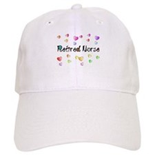 Retired Nurse Gingham hearts Baseball Baseball Baseball Cap