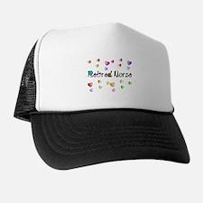 Retired Nurse Gingham hearts Trucker Hat