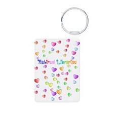 retired librarian hearts 2 Vertical Keychains